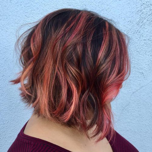 Rose Gold Highlights on Dark Cocoa Hair