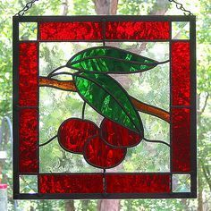 Cherry Themed Kitchen Google Search Stained Glass Flowers Stained Glass Window Panel Stained Glass