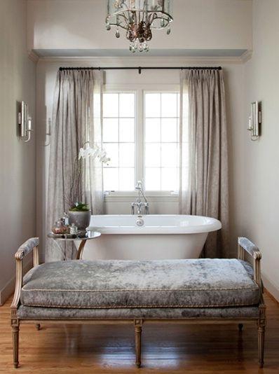 Paris Style Bathroom Decor: Glam Bathroom With Gray Walls Paint