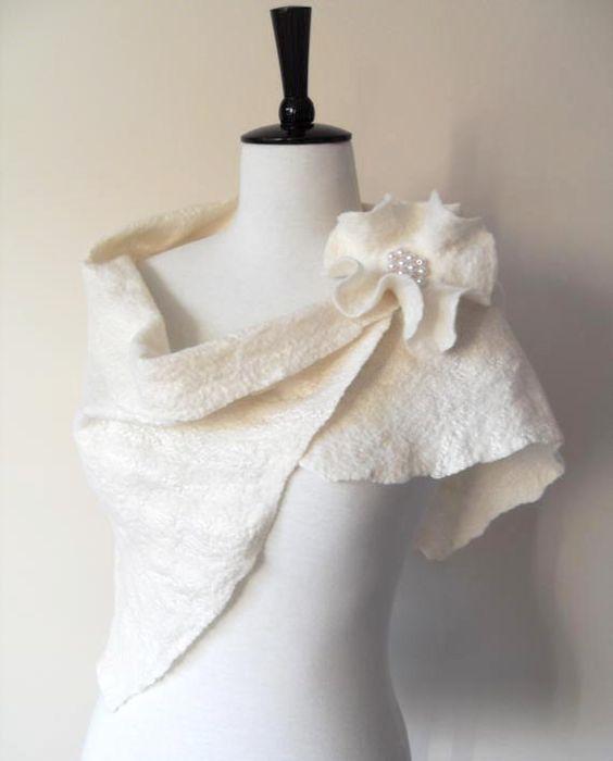 Wedding Shawl Bridal Shawl Bridal Wrap Ivory Bridal Stole Shrug Scarf Wool and Silk with brooch on Etsy, $66.46