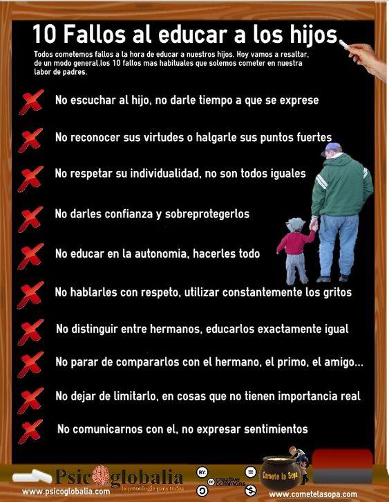 Psicoinfografía, los 10 fallos más comunes al educar a nuestros hijos