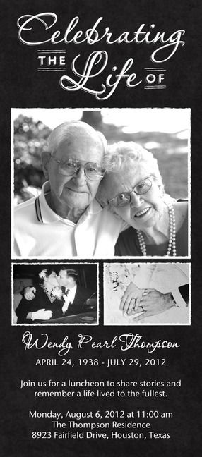 Like the wording of this card Opau0027s Memorial Service Pinterest - celebration of life templates
