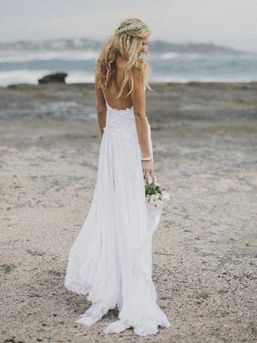 Spaghetti Straps Lace Bodice Split Long Chiffon Wedding Dress