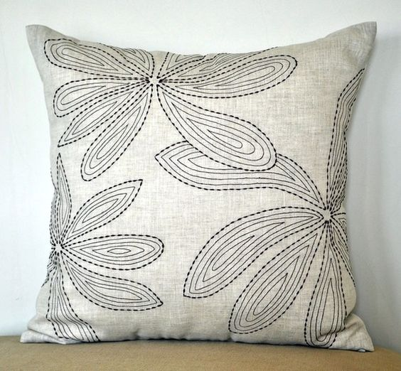 Floral linen pillow cover leaves throw