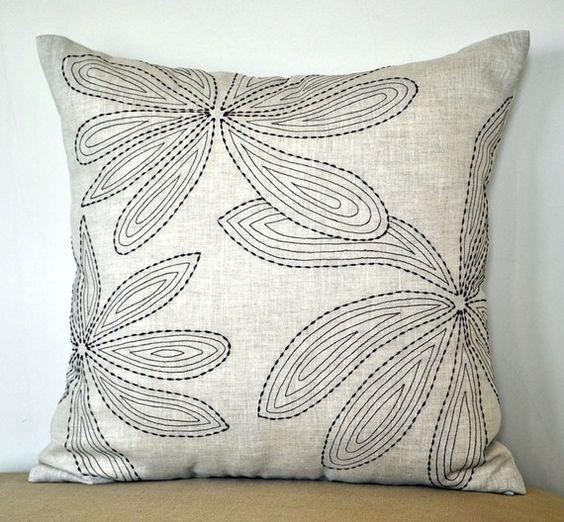 Linen Monogram Throw Pillow: Floral Linen Pillow Cover, Leaves Throw Pillow