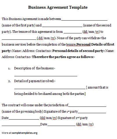 Business Agreement #business #agreement #template Business - mutual business agreement
