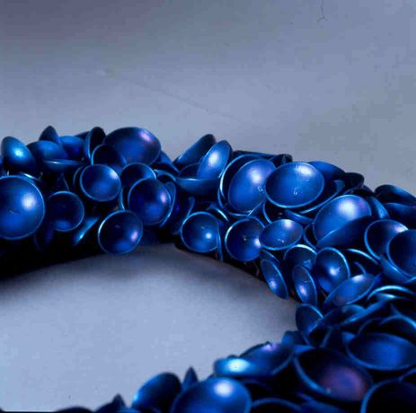 """Jeanette Lopez-Zepeda- """"Klokkeklang"""" necklace (detail) - titanium:"""