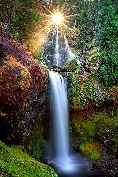 Sunrise Over A Waterfall Waterfall Beautiful Nature Beautiful Landscapes