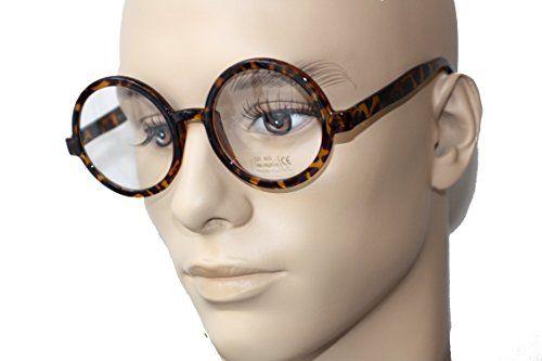 Round Retro Brille Hornbrille Klarglas SG1141 (braun)