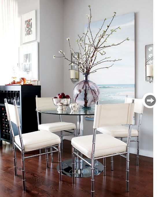 Metal furniture dining rooms and elegant dining on pinterest for Dining area for small spaces