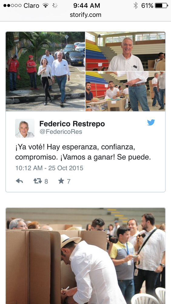 Otro pedazo de el storify que siguió a los candidatos en sus elecciones. En este Federico Restrepo y Andrés Guerra votando. Puedes ver el seguimiento completo en https://storify.com/anacardona32/los-candidatos-a-gobernacion-de-antioquia-en-redes#publicize