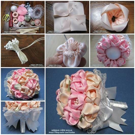 DIY do Casamento - Fita de CETIM buque de flores com Bow 3