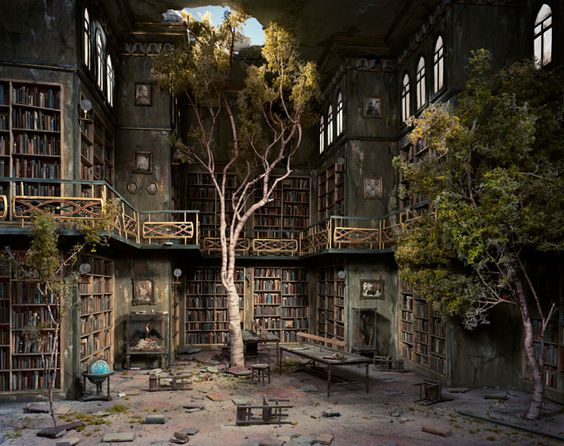 """Lori Nix's miniature built then photographed, """"The Library"""" from The City Series."""