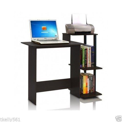 Home Computer Desk Office Furniture Storage Side Shelf Work Station Black Wood  #Furinno