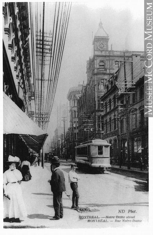 Rue Notre-Dame, Montréal, QC, vers 1910