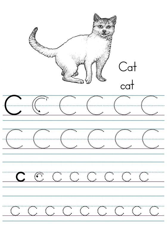 letter C printable   Alphabet ABC letter C Cat coloring page ...