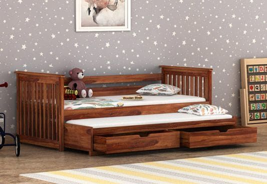 Sierra Kids Trundle Bed With Storage In Teak Finish Is The Right