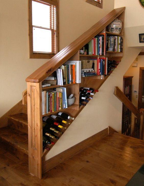 Custom made wine shelf bookcase railing for staircase interior design pinterest shelves - Staircases with integrated bookshelves ...