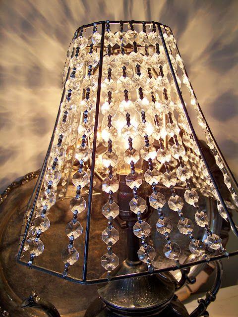 Crystal Lamp Shade Take Fabric Off Old Lampshade And