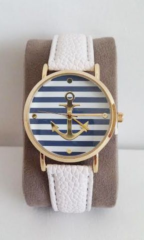 So cute for spring and summer!  Gold Anchor White Leather Band watch! Women's…