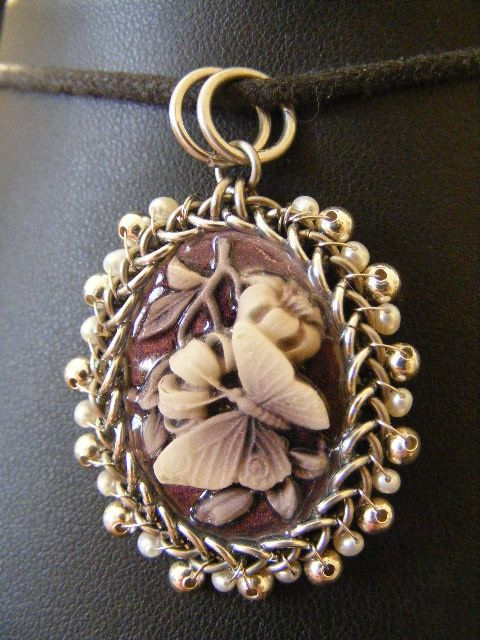 Butterfly Orbit Cameo with Silver and Pearls by BacktoEarthCreations on DeviantArt