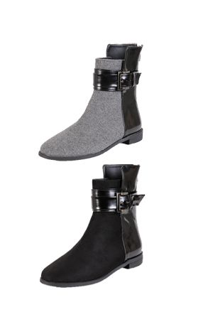 Dabagirl Patent Back Buckled Ankle BootsThese patent back ankle boots can finish off your outfit with a bang.Made with sleek patent leather at the back,these ankle bootswill give your look anedgy touch.- Ankle boots- Patent leather back- Glossy finish at the back- Round toe- Available color(s): Black, Gray