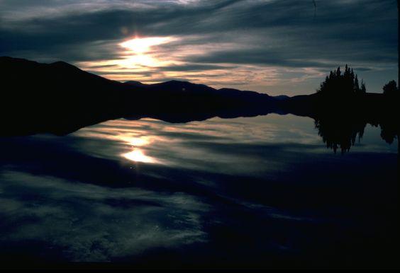 Midnight sun on the Big Salmon.