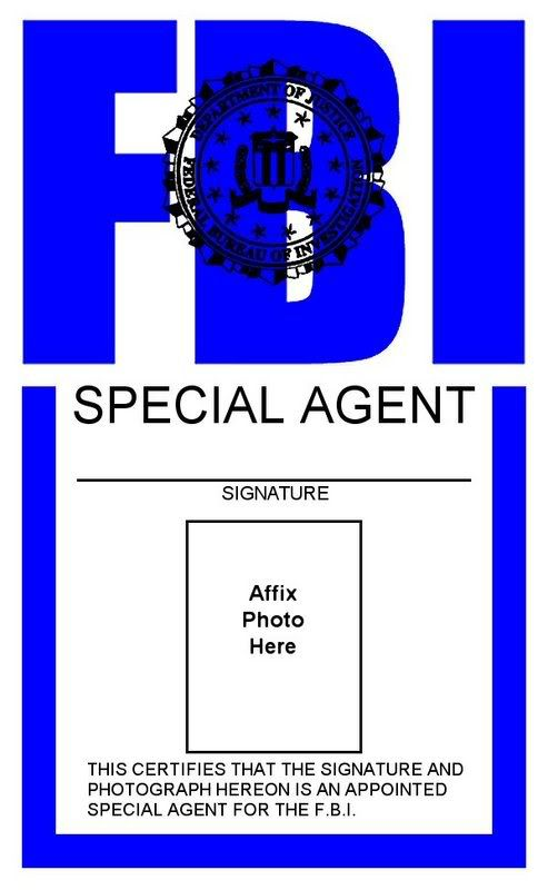 Somehow print this faux FBI badge to clip on your suit Halloween - blank id card template