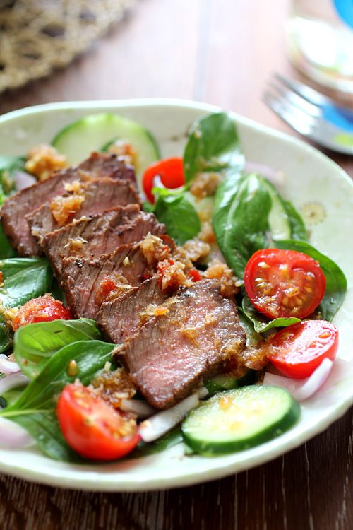 Spicy Basil Beef Salad #recipe #asian