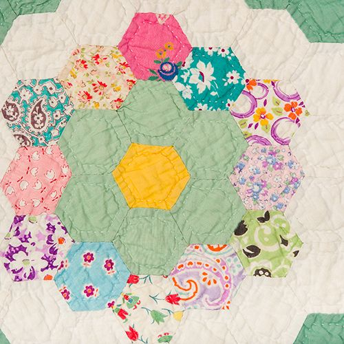 Unique Quilt – Grandmother's Flower Garden | Mingei