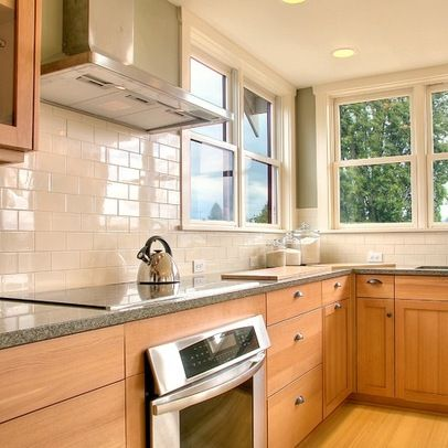 Subway Tile Maple Cabinets White Subway Tile Backsplash