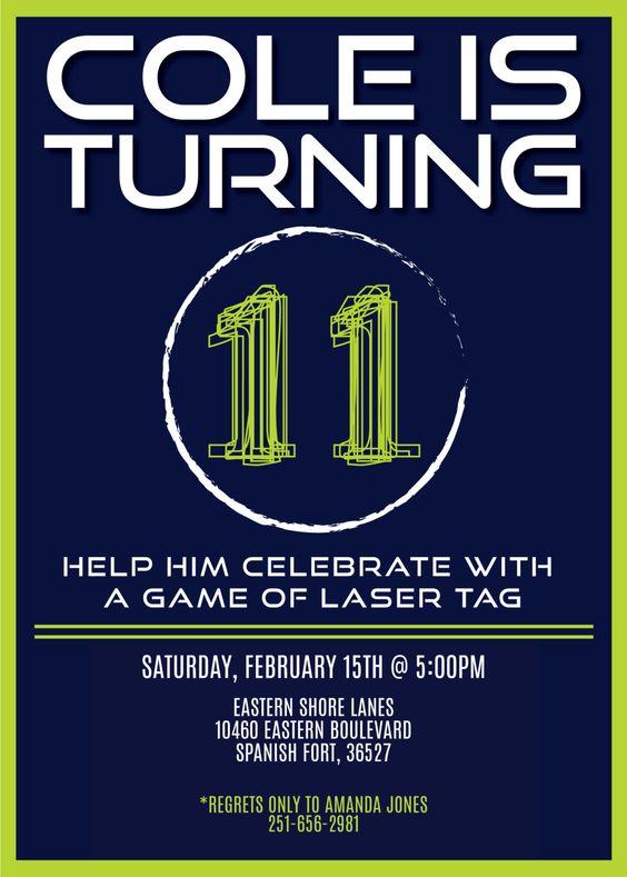 Laser Tag Birthday Invitation by SGraceDesign on Etsy https://www.etsy.com/listing/198314398/laser-tag-birthday-invitation