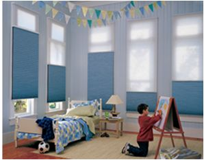 Duette duolite honeycomb shades combine two fabrics in for Kids bedroom window treatments