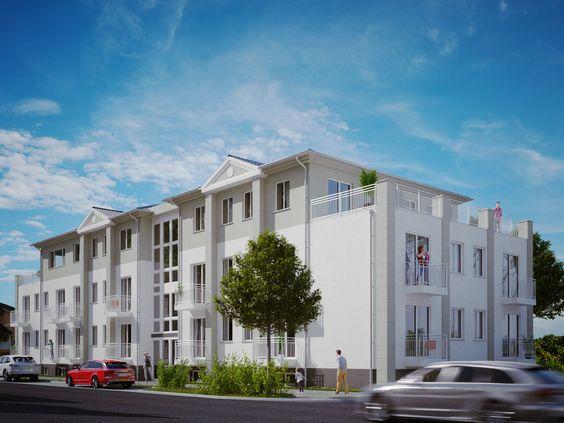 3D Visualisierung eines geplanten Mehrfamilienhauses. Das 3D-Bild des Wohngebäudes wird als Bauschild und für Promotion genutzt.