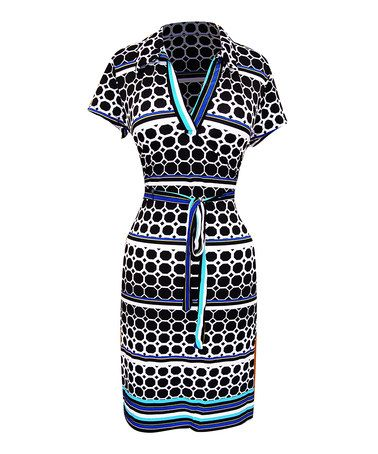 Another great find on #zulily! Black & White Dot Tie-Wait Dress - Women #zulilyfinds