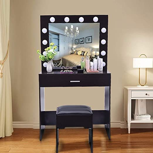 Us Fast Shipment Quaanti Vanity Table Set With Lighted Mirror Makeup Table Vanity Dressing Table Vanity Table Set Dressing Table Vanity Bedroom Dressing Table Vanity table with lighted mirror and bench