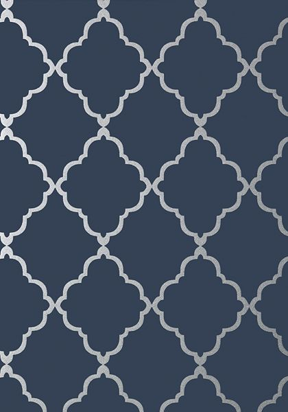 KLEIN TRELLIS, Silver on Navy, AT6060, Collection Seraphina from Anna French