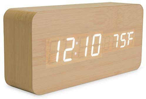 Amazon Com Bamboo Wood Digital Alarm Clock 3 Level White Led Time Date Temperature Display Sleek Modern De Wooden Clock Alarm Clock Digital Alarm Clock