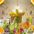 I love the idea of mixing fresh cut fruit with fresh cut flowers for centerpieces.
