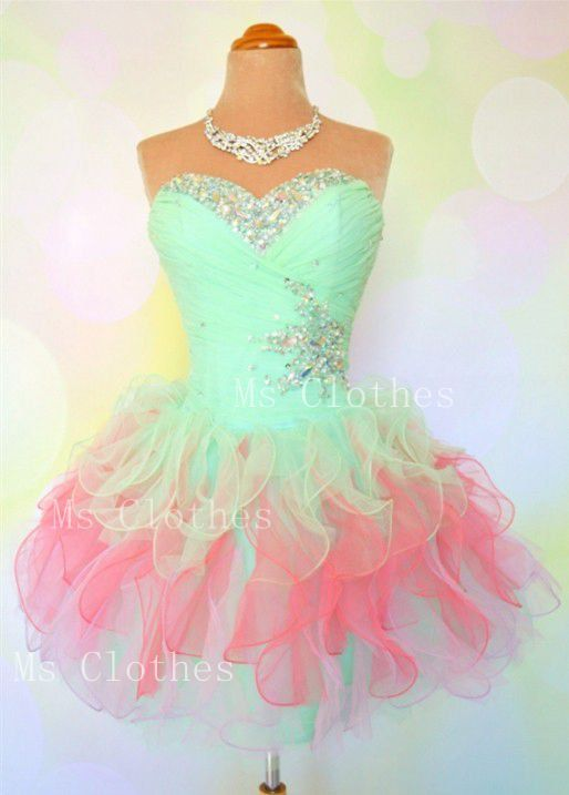 Custom Made Ball Gown Strapless Short Prom Dresses- Homecoming ...