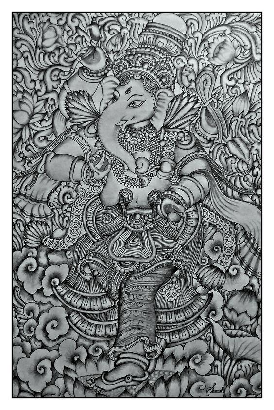 Kerala mural ganesha pencil drawing by shamilart kerala for Mural ganapathi