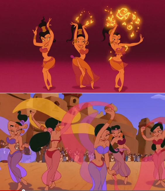 "Disney's Aladdin gave a different twist on the harem fantasy. While it certainly perpetuated the stereotype of scantily clad, veil-twirling, dancing harem girls (dancing harem girls existed in the Ottoman Empire but nobody ever saw what they looked like), Princess Jasmine, a ""modern"" woman, struggled and ultimately triumphed against it.:"