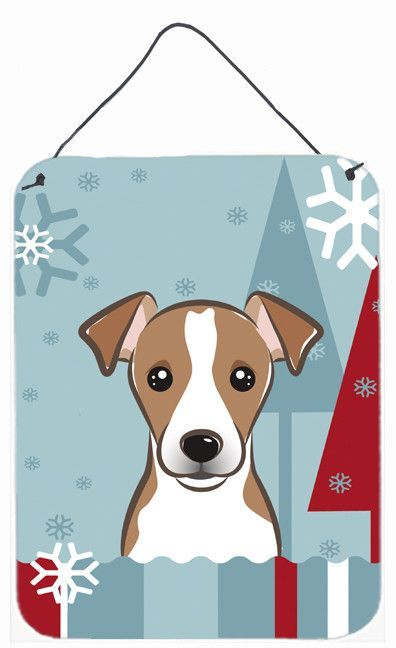 Winter Holiday Jack Russell Terrier Hanging Aluminum Painting Print