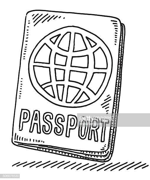 Hand Drawn Vector Drawing Of A Passport With A World Symbol Symbol Drawing How To Draw Hands Vector Drawing