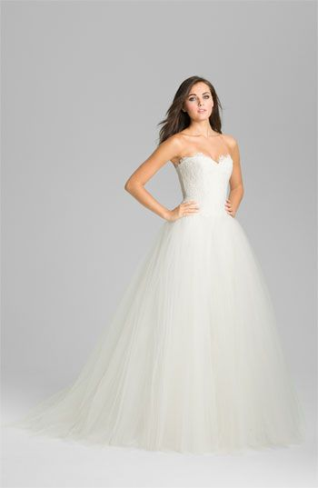 Theia Strapless Lace & Tulle Ballgown available at #Nordstrom
