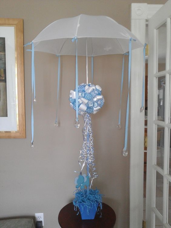 Baby shower umbrella centerpiece i made for my niece 39 s for Baby shower umbrella decoration ideas