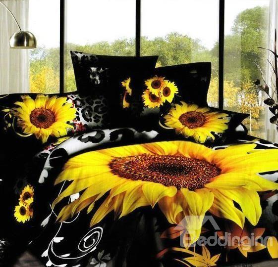 New Arrival 100 Cotton Black Sunflower 4 Piece Bedding Sets Duvet