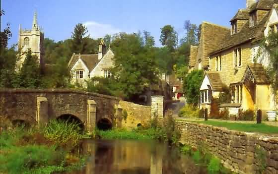 The village of Castle Combe, Cotswolds, England, considered one of the loveliest villages in the Cotswolds.