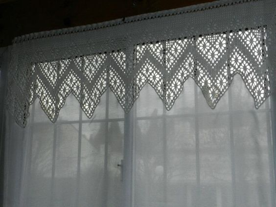Cortina crochet y tela crochet decoraci n pinterest cortinas crochet tela and crochet - Cortinas a ganchillo patrones ...
