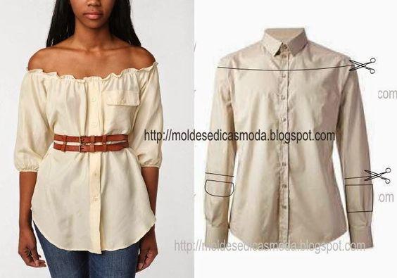 RECICLAGEM DE CAMISA - 4 ~ Moldes Moda por Medida cut shoulders higher but…